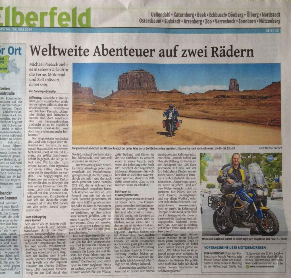 Weltweite Abenteuer auf zwei Rädern