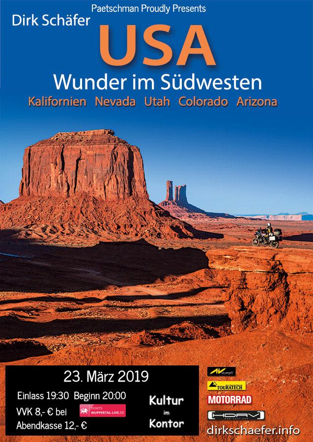 """Paetschman Proudly Presents: Dirk Schäfer """"USA Wunder im Südwesten"""" 23.03.2019 bei Kultur im Kontor"""